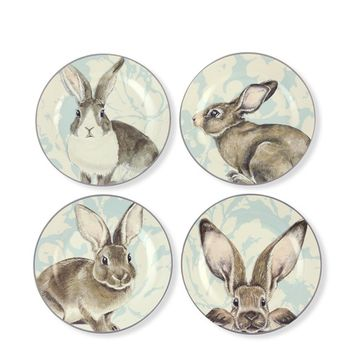 Damask Easter Bunny Salad Plates, Set of 4