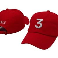 CHANCE 3 Embroidered Baseball Sports Cap Hat - Red