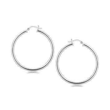 Sterling Silver Rhodium Plated Large Polished Classic Hoop Earrings (40mm)