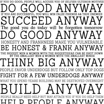 8x10 Printable Wall Art, Paradoxical Commandments, Mother Teresa quote, spirtitual print, black and white art, typography art