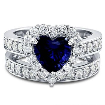 A 1.8T Heart Cut Sapphire Blue Russian Lab Diamond Bridal Set Wedding Band Ring