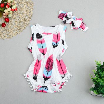 ISHOWTIENDA Infant Baby Girl Romper Feather Printed Tassel Sunsuit Toddler Kids Jumpsuit Outfits Children Clothes 0-24M #25