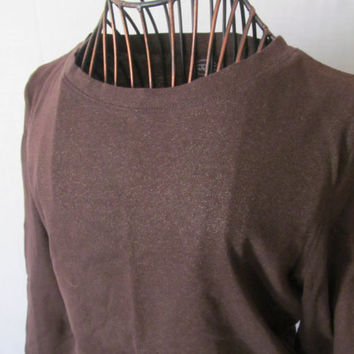 Vintage Talbots Brown Blouse 100 % Cotton Blouse Womens sz S  Brown Tunic and Tops  Pullover Sweater Petite Trending Clothing