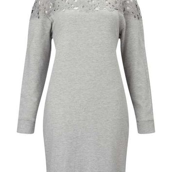 Grey Lace Yoke Sweater Dress - Dresses - Apparel