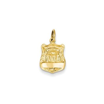 14k Yellow or White Gold Police Badge Charm
