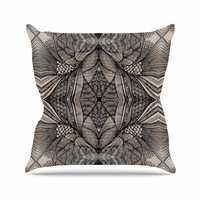 "Gill Eggleston ""Fantazia Black"" Gray Beige Throw Pillow"