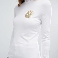 Versace Jeans Roll Neck Logo Top at asos.com