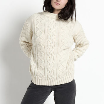 Vintage 80s Ivory Cable Knit Chunky Sweater with Mock Turtleneck | M