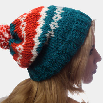 Fair isle beanie slouchy hat with pom pom / knit hat in petrol, cream and red- orange color / winter accessory