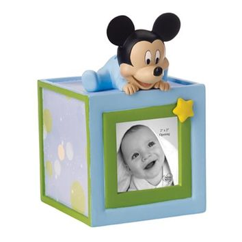 Baby Mickey Mouse Photo Cube Money Bank - Precious Moments