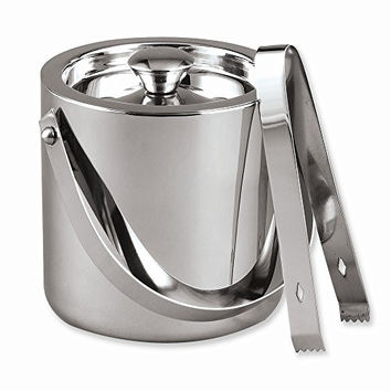 Stainless Steel 1.5 Quart Ice Bucket with Tongs