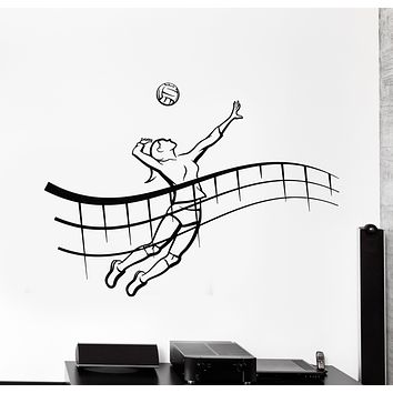 Vinyl Wall Decal Girl Player Volleyball Game Ball Beach Sport Stickers Mural (g430)
