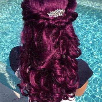 Mystique Reddish Purple Long Wave Synthetic Lace Front Wig