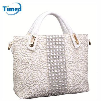 2017 New Women's Handbags Lace Hollow Out Bags Simple Diamonds Fashion Shoulder Bags For Female All-Match Flower Zipper Bags