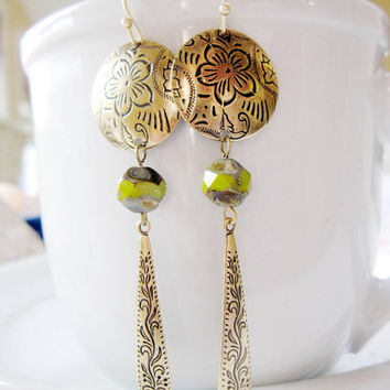 Antique Brass Earrings, Round Embossed flowers, Chartreuse Czech beads, Statement earrings , Long Earrings, Boho Style