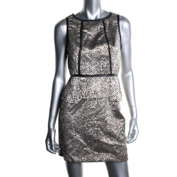 Kensie Womens Metallic Jacquard Wear to Work Dress