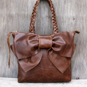 2014 Leather Bow Petite Satchel Handbag in Your Choice of Leather by Stacy Leigh Made to Order