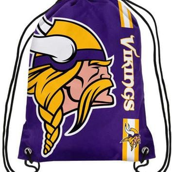 Minnesota Vikings Polyester Men Drawstring Backpack Buggy Bags Custom Image Digital Printing Pouch 35*45CM Sports Fan Products