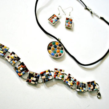 Etsy Mosaic Jewelry - 3 Piece Set - Sophia - Ceramic Mini Tiles - Bracelet, Earrings, Pendant - Mid-Century Modern Designs - Holiday Gift
