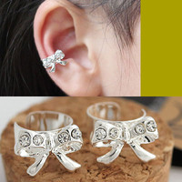 Silver Rhinestone Bow Ear Cuff (Single, Adjustable,No Piercing)