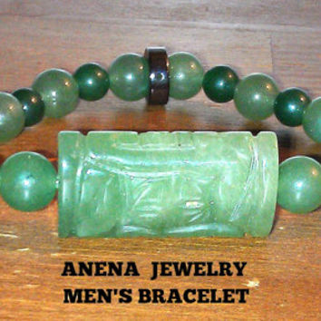 "Men's Bracelet :Aventurine And Hematite ""Spiritually Sound"""