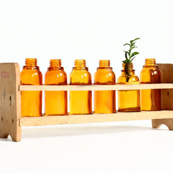 Vintage Laboratory Rack and Bottles - Amber Lab Glass
