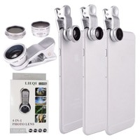 YOPO Universal Clip Camera lens kit for iPhone 6s plus/6s/6 plus/6,Samsung GalaxyS6/S5,Mobile Phones(Fish Eye Lens + 2 in 1 Macro Lens & Wide Angle Lens + CPL lens)(Silver)