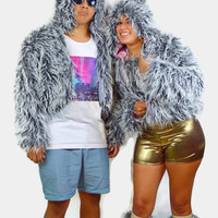 Wolf fur jacket  / Fur halter top / gold shorts / 90s / sexy top / EDC outfit / booty shorts / fluffies / furry tail