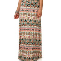 Color Aztec Print Maxi Skirt