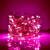 33 Foot LED Fairy Lights- 100 Pink Micro LED Lights on Copper Wire With Plug | Hometown Evolution