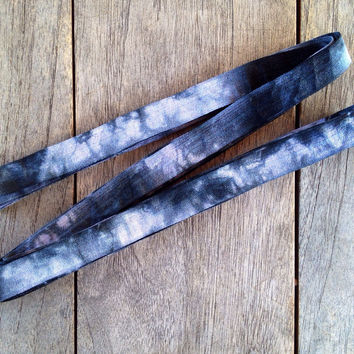 "Grey-Black Tie Dye 5/8"" Fold Over Elastic"