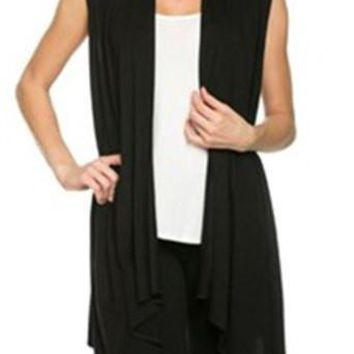 Collarless Sleeveless Long Knitwear