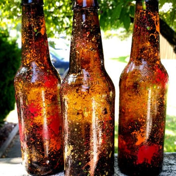 Fall Theme Beer Bottles, Painted Beer Bottles, Fall Decor, Beer Bottle Vases, Painted Bottles, Splatter Paint Beer Bottles