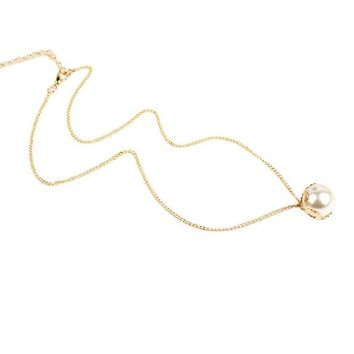 Single Simulated Pearl Necklace for Women