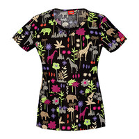 Everyday Scrubs by Dickies Womens Dickies Round Neck Print Top
