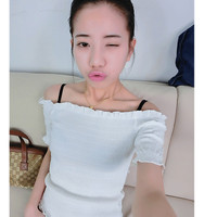 Candy wood ear elastic strapless t-shirt