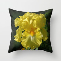 Golden Iris flower Throw Pillow by RVJ Designs