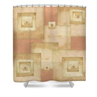 Squares and Buttons Shower Curtain