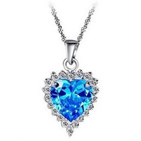 Titanic Sapphire Swarovski Heart Pendant, Pendant Necklace, Crystal pendant, Bridal Necklace, Anniversary Gifts, Wedding Jewelry, JEW001066