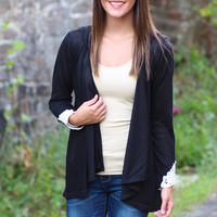 Colorado Cutie Hooded Cardigan {Black}