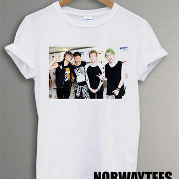 New 5 SOS Shirt Band Symbol Printed on and White t-Shirt For Men or Women Size TS 71