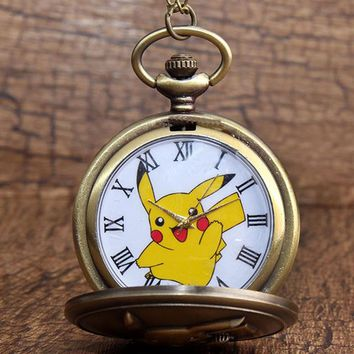 Childrens Gift Pokemon Japan Cartoon Pocket Watch Necklace Retro Kawaii Pikachu Anime Fob Quartz Clock Chain Cute Stationary Boy