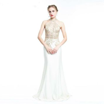 Sleeveless Beige Halter Mermaid Evening Dresses Long Jersey Embroidery  Formal Evening Gown