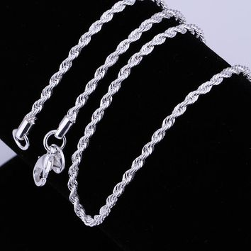 "5pcs/lot Fashion silver necklace chain,2mm 925 Jewelry silver Plated Twisted Rope chain necklace 16""-24"",pick length! AN226"