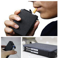 Automatic Cigarette Lighter Metal Case Box Holder Windproof