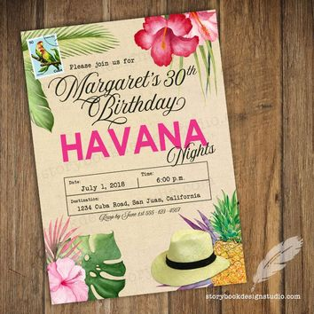 Pink Havana Birthday Party Invitations
