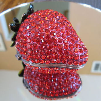 Red Swarovski Strawberry Trinket Box by Kalifano with Swarovski Rhinestones