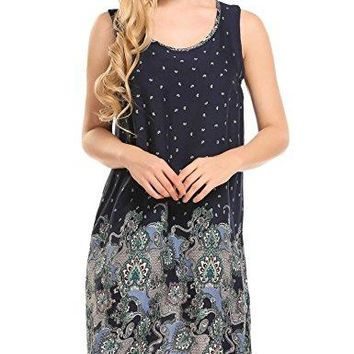 HOTOUCH Women Bohemian Ethnic Style Straight Loose Shift Printed Tunic Dress Plus Size