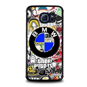 bmw sticker bomb samsung galaxy s6 edge case cover  number 1