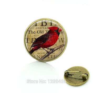 Cardinal Red Bird ewelry Christmas gift  New Year gift  for friends Red bird brooches lass cabochon dome  jewelry C254